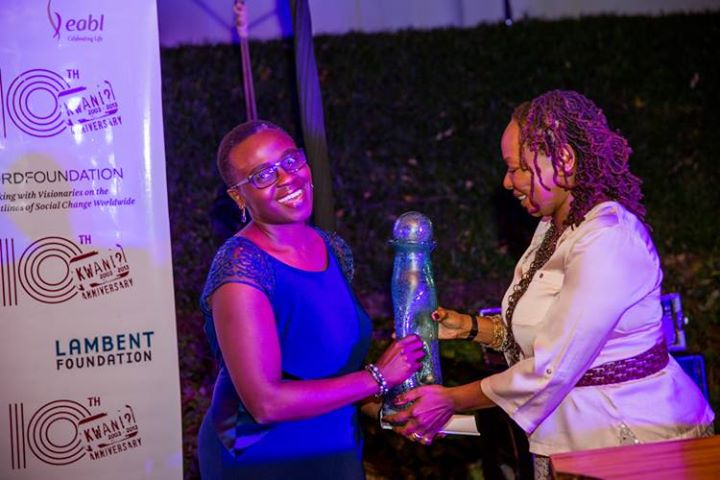 Jennifer receiving the Kwani manuscript Prize